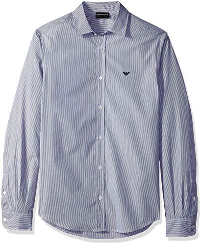 Armani Hombres Camisa Rayas algodón popelín Azul