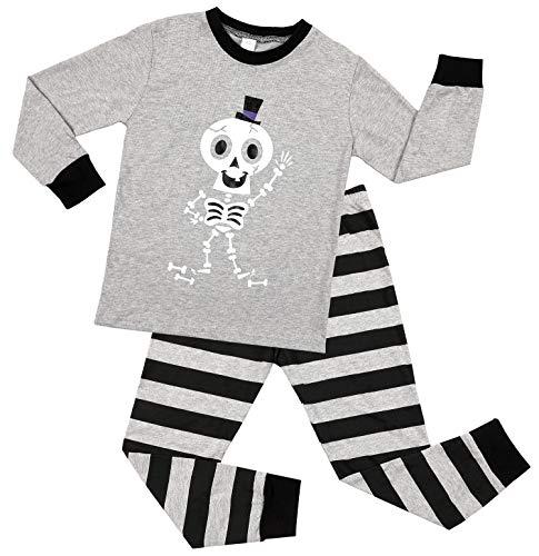 Charmo Kinder Halloween Pyjamas Baumwolle Nachtwäsche Rahmen Langarm Schlafanzug Zweiteiler Streifen Hosen Kostüme Sets Grau 5 Jahre