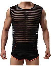 con trasparenti sportiva T shirt da a canotta da gilet Tenchif righe uomo N8vwOm0n