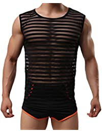 Tenchif Hombres Striped Gym Tank Top Camiseta con Chalecos Transparentes
