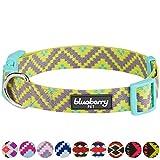 Blueberry Pet Ethno Muster Inspiriertes Atemberaubendes Zigzag Hundehalsband, Strahlend-Gelb, M, Hals 37cm-50cm, Verstellbare Halsbänder für Hunde