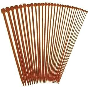 WINGONEER 36pcs/set 18 tailles 25cm pointe unique lisse outil crochet aiguilles à tricoter en bambou carbonisé taille 2.0-10.0mm