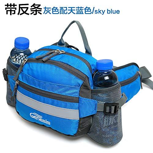 WXZB Spezielle Außentaschen im Freien, Multifunktionskapsel großer Kapazität, Einzelne Schulter Kameratasche, wasserdicht für Männer und Frauen, (Mit Reflektierendem Streifen) graues Himmelblau.
