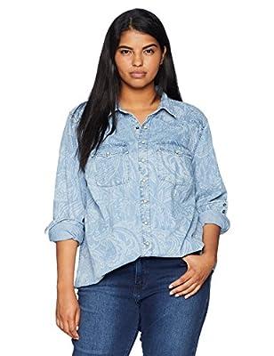 Lucky Brand Women's Plus Size Paisley Western Shirt