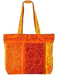 amarillo-naranja de usos múltiples Shopping Bag - Bolsa de tela de algodón con cierre de cremallera y dos asas