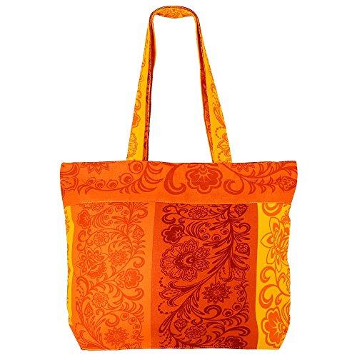 Swayam multi-usages jaune orange Sac shopping - 100% Baumwoll-Beutel avec fermeture éclair & DOUBLE POIGNÉES