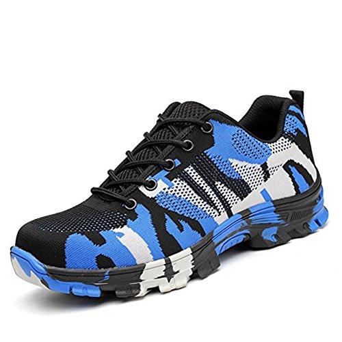 Calzado de Trabajo Hombre Mujer Zapatillas de Seguridad con Puntera de Acero Antideslizante Transpirables Unisex Azul 42