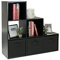 Hartleys Black 6 Cube Unit & 3 Black Storage Drawers