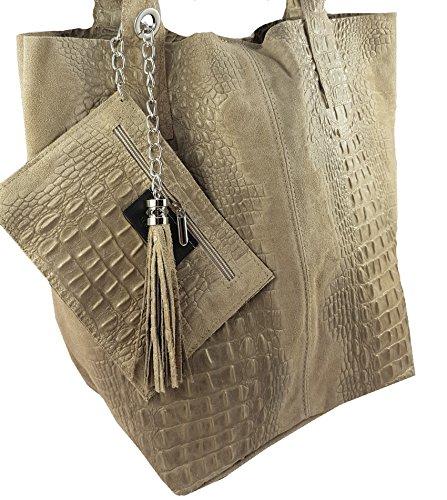 Damen Echtleder Shopper mit Schmucktasche in vielen Farben Schultertasche Henkeltasche Handtasche Metallic look Beige Kroko