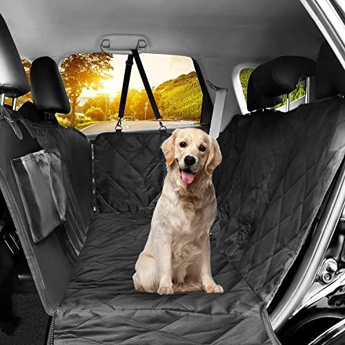 LOETAD Coprisedile per Cani Auto Coprisedile Telo per Cani Auto Copertura Impermeabile Anti-Scivolo con Finestrella a Maglie Visibile Tasca Portaoggetti per Sedile Posteriore Auto Univers