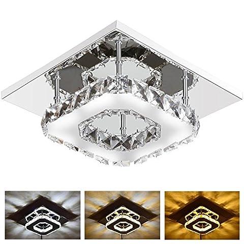 12W LED Deckenleuchte Modern Flush Mount Kristall Deckenleuchte Fassung, Edelstahl Kronleuchter Deckenleuchten für Flur, Gang, Veranda, Schlafzimmer (3 Farbwechsel Licht)