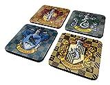 Harry Potter - Set di sottobicchieri con stemmi delle case, 4 pz.
