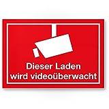 Dieser Laden wird videoüberwacht Mehrsprachig (Rot) (Querformat)