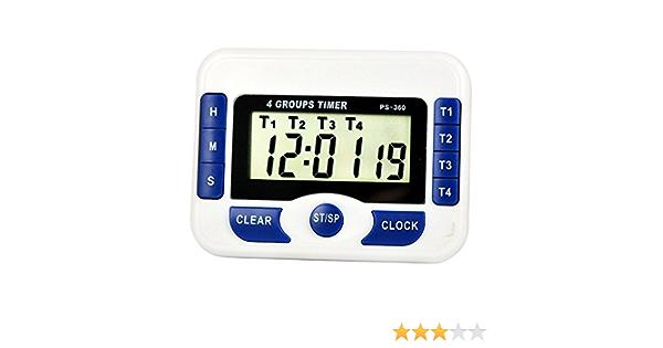 Digital Countdown 4-Channel Timer /& Clock w//4 Independant Group Timer 99hr59min