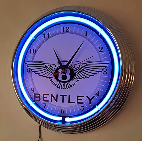 Neon Orologio Bentley Sign Orologio da parete Illuminato con verde neon Ring....
