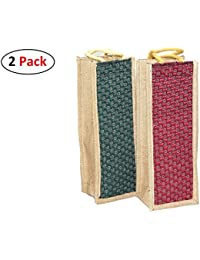 2 Pack Jute Water Bottle Bag With Reinforced Handles Reusable Eco-friendly Carry Bag (5x4.5x14) Inch – Print &...