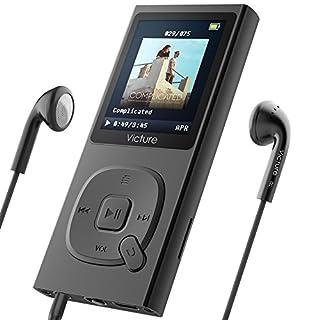 Victure Lecteur MP3 en Metal 100H Lecteur Musique Portable 8Go avec Radio FM, 1.8 TFT Écran, Enregistreur Vocal, Supporte carte SD jusqu'à 64Go