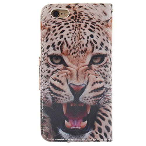 Hülle für iPhone 6S Plus, Tasche für iPhone 6 Plus, Case Cover für iPhone 6 Plus, ISAKEN Malerei Muster Folio PU Leder Flip Cover Brieftasche Geldbörse Wallet Case Ledertasche Handyhülle Tasche Case S Leopard Grimmig
