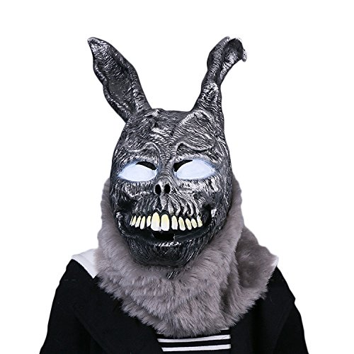 QQWE Halloween Horror Maske Evil Bunny Grimasse Scary Dämon Maske Performance Requisiten Kopf Cosplay Latex Kopfbedeckungen,A-OneSize