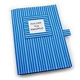 U-Heft Hülle inkl. 2 Steckfächern - Wunschtext - blau