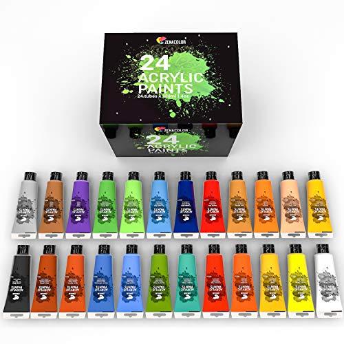Zenacolor - Set mit 24 Acrylfarben - 24 Tuben à 120ml, 24 Farbtöne, Farbe für Holz, Leinwände, Bastler-/Künstlerbedarf, für Erwachsene und Kinder.