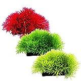 Beetest-3 PCS Plastic Artificial Water Aquatic Grass Plant Fish Tank Aquarium Landscape Decoration Green Light Green Red