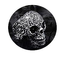 Bishilin Stainless Steel Ring Punk Ring for Men Hip hop Flower Skull Rings for Men Wedding Silver Size P 1/2