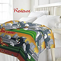 Renown Tom & Jerry Bheem Cartoon Kids Design Print Reversible Single Bed Quilt / AC Blanket / Dohar