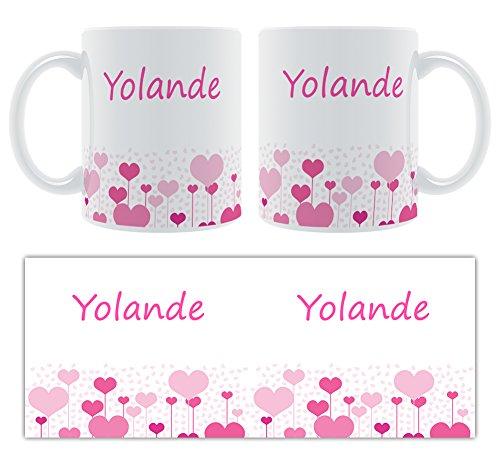 Yolande – Motif cœurs – Femelle Nom personnalisable Mug en céramique