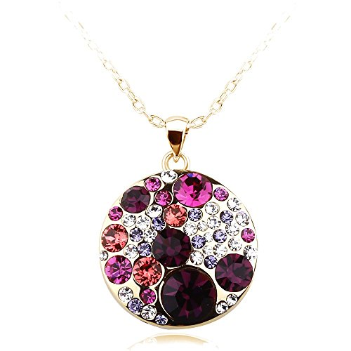 park-avenue-anhaenger-mit-kette-disc-multicolor-beere-made-with-crystals-from-swarovski