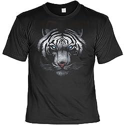 Unbekannt Cooles Motivshirt mit weißen Tiger - Teiger - Tigerkopf T-Shirt