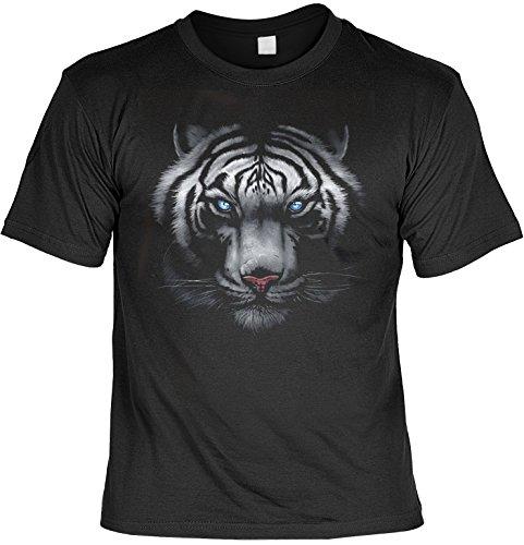 Kostüm Coole Arbeit Für - Cooles Motivshirt mit weißen Tiger - Teiger - Tigerkopf T-Shirt
