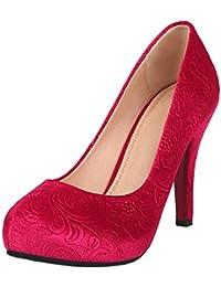 Artfaerie Damen Samt High Heels Stiletto Pumps Geschlossen mit Plateau und Blumenmuster Modere Abend Schuhe