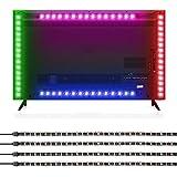 Albrillo LED TV Hintergrundbeleuchtung, 2M USB Mehrfarbige RGB LED Stripe mit Fernbedienung und 16 Farben für 40×60cm HDTV, TV-Bildschirm und PC-Monitor