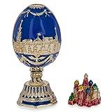 BestPysanky St. Petersburg Blue Enamel Royal Inspired Russian Easter Egg 2.75 Inches