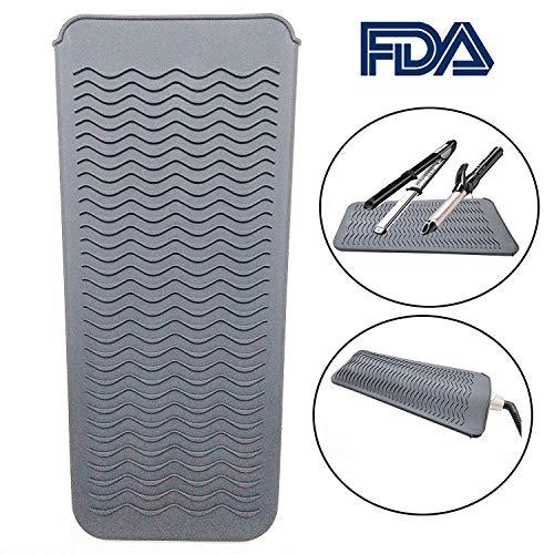 Alfombrilla aislante, bolsa de silicona, funda de silicona resistente al calor para todas las planchas de rizado, alisador de cabello, planchas planas, (gris)