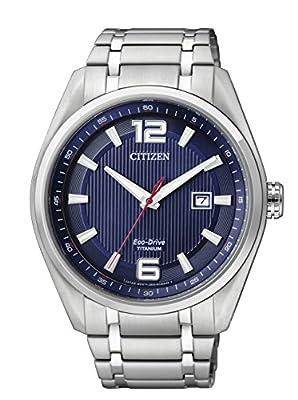 Citizen AW1240-57M - Reloj de cuarzo para hombre, con correa de titanio, color plateado de Citizen