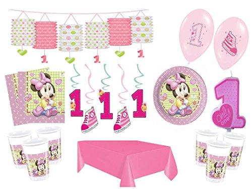 (XXL Party Deko Set 1.Geburtstag Minnie Baby Kindergeburtstag für 16 Personen rosa Mädchen)