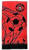 Football Sport XM-105-1-03 Serviette De Plage, Bain, Piscine, Coton, Enfant, Ballon, Rouge, Noir