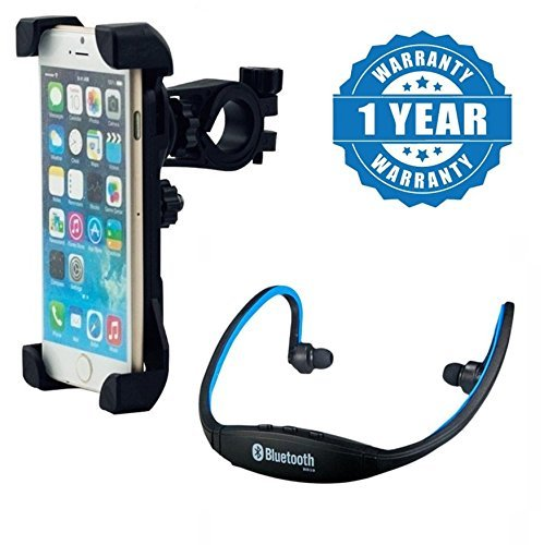 Drumstone Universal Bicycle Mount Mobile Holder with Bluetooth In-Ear Sports Headset for All Smartphones