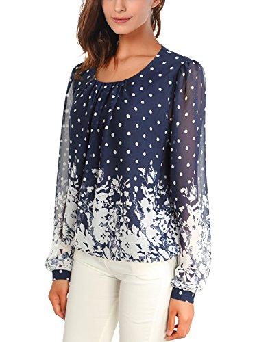 DJT Femme T-Shirt doux Blouse Chemisier Tops Imprime en tulle Manches longues Bleu-Blanc XXL