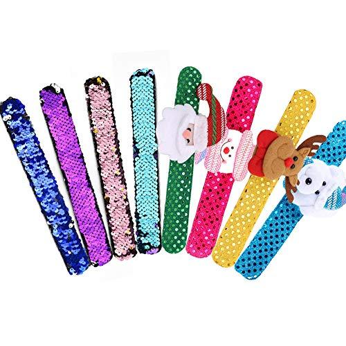 INTVN Pailletten Armband Meerjungfrau Armbänder & Weihnachtsarmband Slap Armband für Kinder Mädchen 8 Stück