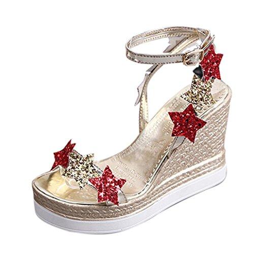 Yogogo Femmes Fille Open Toe Escarpin CompenséEs à Noues Chevilles Poissons Plate-Forme De Bouche Talons Hauts Sandales Chaussures De Pente Cinq ÉToiles Sandales