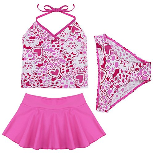TiaoBug 3pcs Girls Summer Beach Floral Halter Top Tankini Swimwear Swimming Costume 8-10 Years Hot Pink