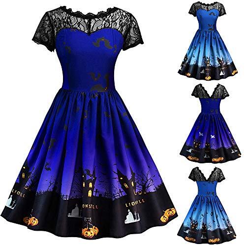 Women Dress Giulogre Fashion Ladies Halloween Lace Short Sleeve Long Sleeve Vintage Gown Spliced Bat Skull Print Evening Party Sale