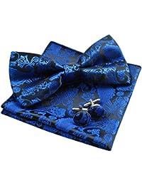 Alizeal Paisley -Pajarita, Pañuelo y Gemelos para Hombre Azul Klein