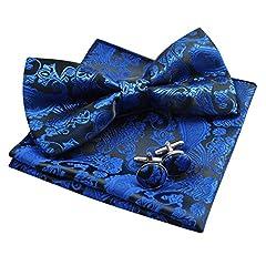 Idea Regalo - Enjoymore da uomo Paisley pre-legato papillon e fazzoletto & gemelli set Royal Blue Taglia unica