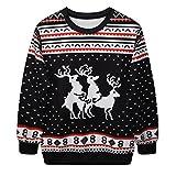 NiSeng Damen Männer Hässliche Weihnachts Sweatshirts Langarm Pullover Weihnachtskleidung Retro Weihnachten Top Schwarz One Size