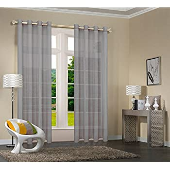 Primavera -20332CN- 2er-Pack Grau Vorhang Transparent Gardinen Set  Wohnzimmer Voile Vorhang Ösenvorhang HxB 245x140 cm mit Bleibandabschluß  Grau