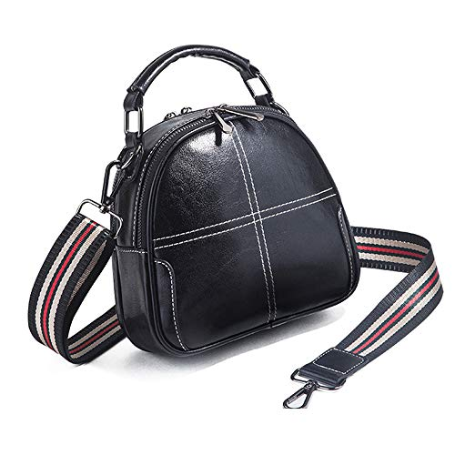 Hypasa Frauen Retro Handtasche Crossbody Shoulder Bag Satchel Hobo Premium Leder Vintage Clutch Closure (schwarz)